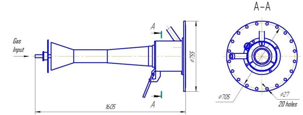схема установки горелки ггв 100
